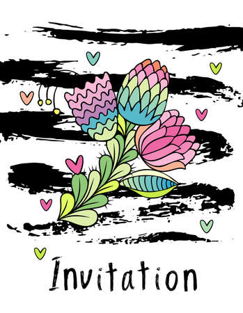 Hand drawn hipster floral invitation card cover, stylish flower . White background with brushstrokes Stockfoto