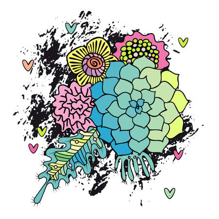Hand drawn abstract flower bouquet . Succulent, rose and leaf on white background