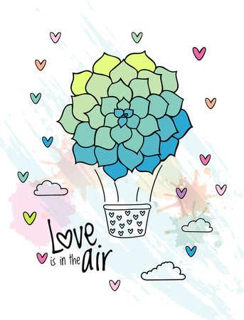 Hand drawn aerostat with succulent flower balloon . Love card design