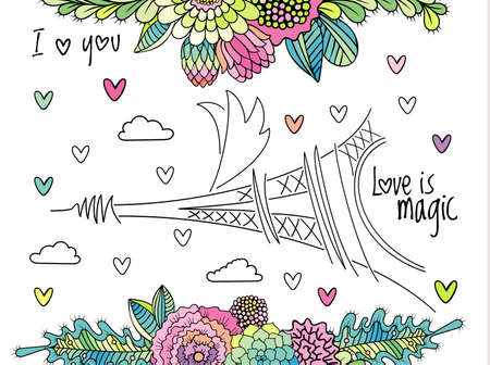 Floral love background with eiffel tower . Hand drawn succulent flower, leaves and hearts