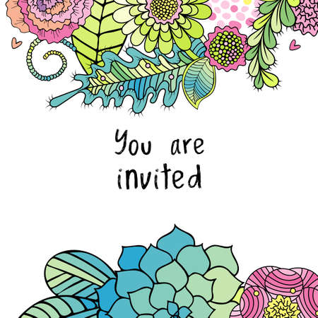 Floral hand drawn invitation card, succulent, rose flowers and leaves