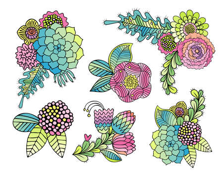 colorful floral set with succulents plants, leaves, roses, daisy. Hand drawn stylized flower