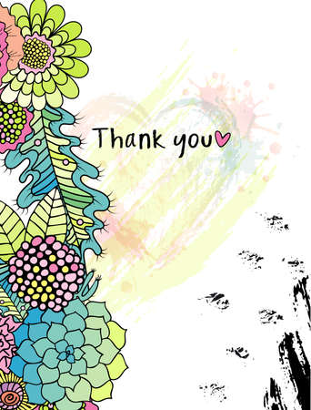 Floral Thank you card with colorful stylised flowers in a wreath, and black ink circle texture. Perfect for wedding, greeting or invitation design