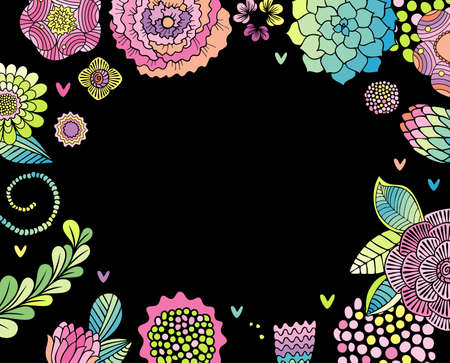 Flower card, succulent, rose and leaves frame , black background. Empty space