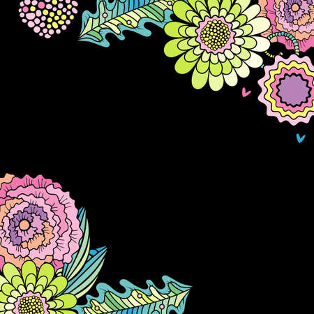 Succulent flower, rose and leaf decoration . Floral hand drawn card design isolated on black background Stockfoto