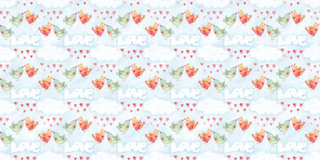 Valentines day seamless pattern with watercolor love kissing birds. Hand drawn illustration, romantic wallpaper in childish design
