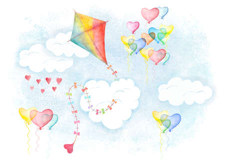 Makar sankranti symbol for card cover. Watercolor hand drawn illustration, colorful aquarelle kite with little heart and love balloons flying in clouds Stockfoto