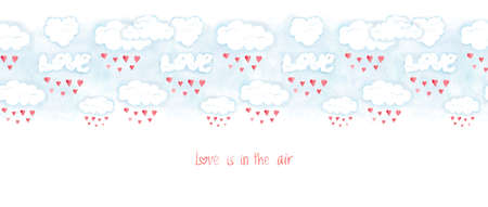 Saint Valentines day banner, love is in the air. Romantic illustration with red hearts, clouds and lettering, hand drawn holiday card decoration