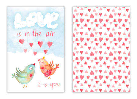 Happy Valentines day card with kissing birds and love is in the air phrase, hearts on back cover. Romantic illustration with watercolor hand drawn design Stockfoto