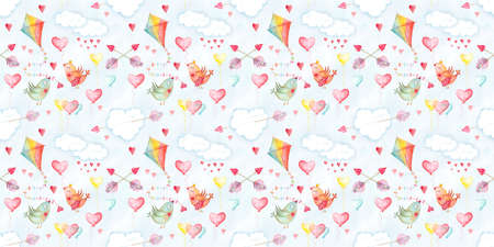 Saint Valentines day, seamless pattern with love symbols. Romantic illustration with birds, hearts and arrows, clouds and kites. Watercolor hand drawn decoration for background Stockfoto