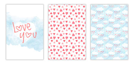 Happy Valentines day watercolor three-way card cover. Hand drawn illustration with aquarelle heart, clouds and love you phrase Stockfoto