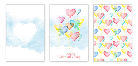 Happy Valentines day three-way card cover with watercolor air balloons in form of hearts. Hand drawn aquarelle illustration, love holiday sign, postcard design