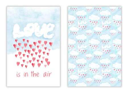Happy Valentines day card, love is in the air. Romantic watercolor illustration with red hearts and love clouds, hand drawn Stockfoto