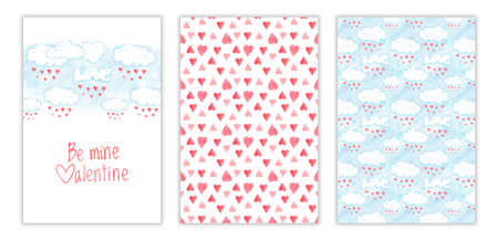 Valentines day card design, be mine valentine phrase. Romantic illustration with red hearts and clouds, hand drawn watercolor collection