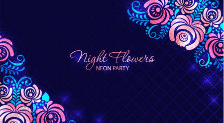 Retro futuristic abstract background made in 80s style. Light banner with neon grids and night flower in vintage style. Vector illustration for your graphic design