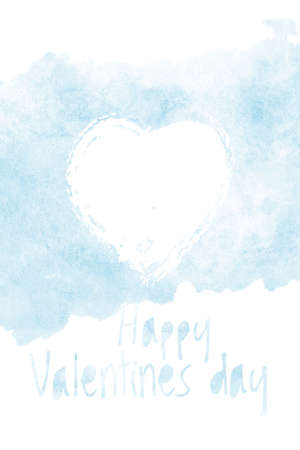 Happy Valentines day, watercolor card cover with heart and phrase. Hand drawn illustration for romantic greeting or invitation, love symbol Stockfoto
