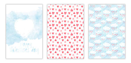 Happy Valentines day watercolor three-way card cover. Hand drawn illustration with aquarelle hearts and clouds, love symbol for greetings and invitations
