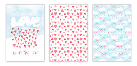 Happy Valentines day dreeting card set, love is in the air. Romantic watercolor illustration with red hearts and love clouds, hand drawn collection Stockfoto