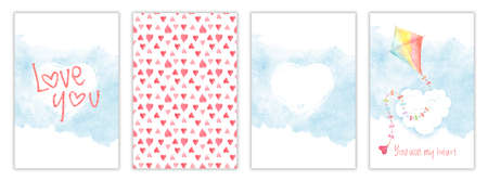 Valentines day watercolor card collection, greeting templates with kite, hearts and clouds. Hand drawn illustration, aquarelle postcard set with childish design Stockfoto