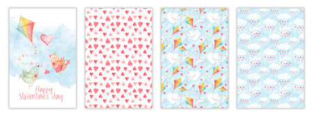 Happy Valentines day card set, templates with watercolor kite, love kissing birds, hearts and clouds. Hand drawn illustration, childish design postcard collection Stockfoto