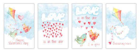 Valentines day card set, templates with watercolor kite, love kissing birds, hearts and clouds. Hand drawn illustration, childish design postcard collection Stockfoto