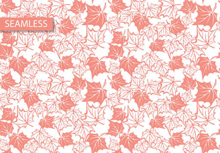 Retro maple vector leaves pattern, great design for any purposes. Autumn forest nature. Autumn maple leaves. Coral background. Maple branch. Retro illustration. Wallpaper pattern.