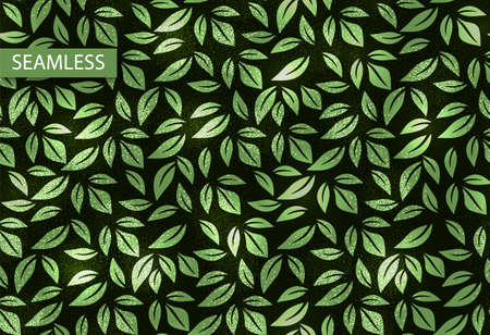 Leaf vector neon texture seamless pattern, background. Illustration for decoration design. 80s party night background. Decorative print. Wallpaper pattern. Summer leaves. Stock Illustratie