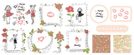 Floral girls doodle frames in hand drawn style. Birthday party. Leaves and rose background vector. Kids doodle set. Pink background. Hand drawing. Seamless pattern. Kids zone decoration set Stock Illustratie