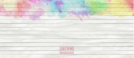 Watercolor rainbow wood banner. Wood plank. Vector art. White and rainbow pattern, texture background, wooden parquet header background texture. Stock Illustratie