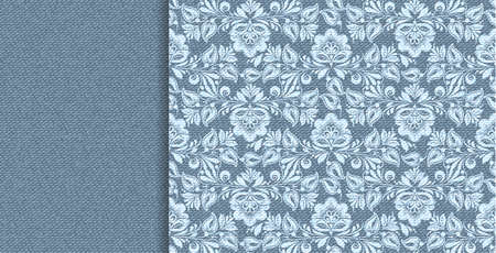 Denim vector floral lace in indigo abstract style on blue background. Decorative floral seamless pattern. Textile design texture. Vector vintage illustration. Grunge background. Art illustration. Illustration