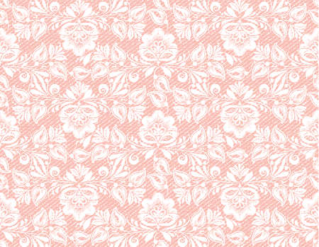 Modern coral lace seamless texture, great design for any purposes. Vector retro illustration. Grunge background. Seamless fabric texture. Simple background. Modern graphic design. Vintage wallpaper.