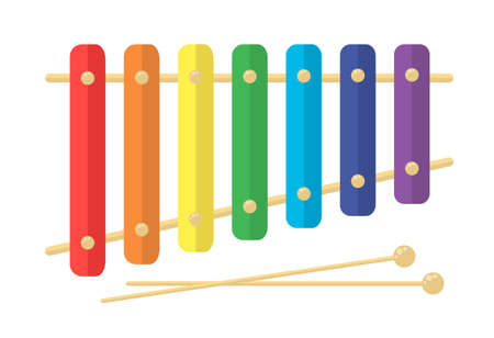 Toy kids xylophone. rainbow baby vector illustration isolated on white background. Bright flat childrens music instrument.