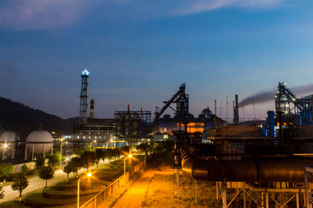 The blast furnace under the night sky, the night view of the iron and steel plant