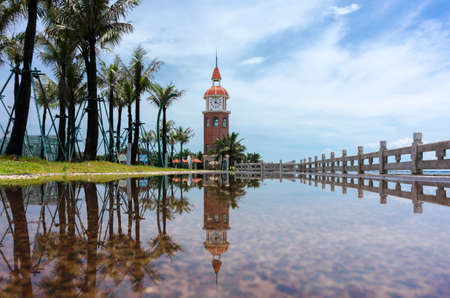 The bell tower after the rain in Haikou Stock Photo