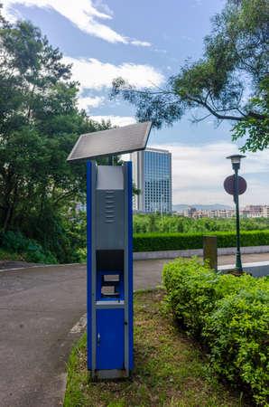 Environmental protection new energy application scenario, solar trash can Imagens