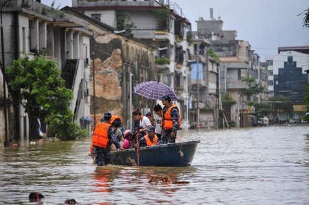 """Op 18 september 2018 veroorzaakte tyfoon """"Mangosteen"""" zware regenval en veroorzaakte overstromingen in Yangchun City, in de provincie Guangdong. Redactioneel"""