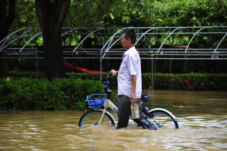 On September 18, 2018, typhoon Mangosteen brought heavy rains and caused floods in Yangchun City, Guangdong Province.