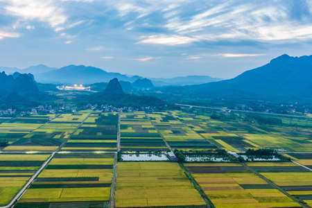 autumn karts land forms at Ma Lan Village, Yangchun City, Guangdong Province, China. Stock Photo