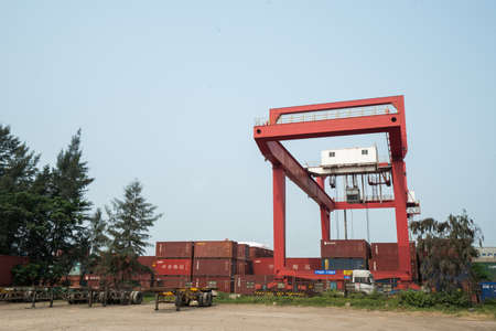 Haikou Port Container Terminal, Haikou City, Hainan Province, gantry cranes and stacked containers