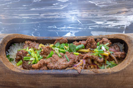 Chinese traditional gourmet ginger silk beef bamboo rice 写真素材