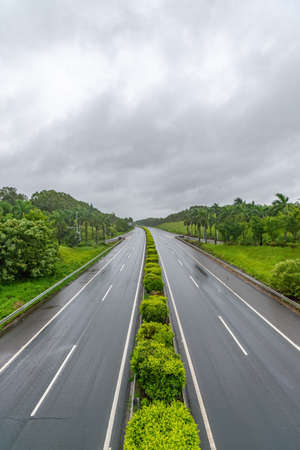 Highway overlooking the rainy weather