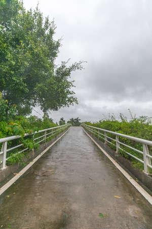 Pedestrian bridge in rainy weather Foto de archivo
