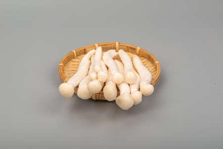 White beech mushroom on bamboo tray
