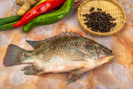 A slice of fresh tilapia on a marble table with ingredients 免版税图像