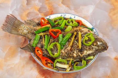 One plate of steamed tilapia 免版税图像