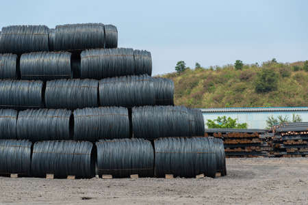 Steel materials stacked on the ground