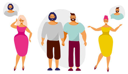 Beautiful women dream about relationships with men from lgbt couples. Vector illustration in flat cartoon style isolated on white background. Stock Illustratie