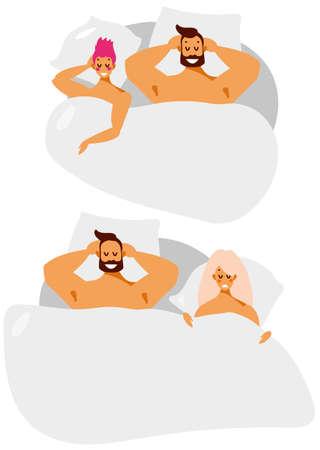 Mann und Frau paar im Bett. Beziehungen, Liebe und Ehebruch in der Familie. Vektorzeichentrickfilm-figuren im flachen Stil lokalisiert auf weißem Hintergrund.