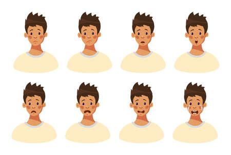 Satz von 8 negativen männlichen Emotionen. Gesichtsausdruck Junge Teenager. Kopf eines jungen Mannes mit traurigen Emotionen im Gesicht. Emotionale Intelligenz. Avatar-Typ. Cartoon-Stil, flache Design-Vektor-Illustration. Vektorgrafik
