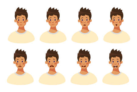 Set of 8 negative male emotions. Facial expression boy teenager. Head of a young guy with sad emotions on his face. Emotional intelligence. Avatar guy. Cartoon style, flat design vector illustration.